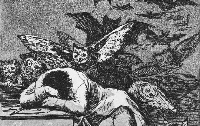 the sleep of reason produces monsters This is the best known image from goya's series of 80 aquatint etchings published in 1799 known as 'los caprichos' that are generally understood as the artist's criticism of the society in which he lived.