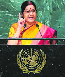 Kashmir ours, Pak has to stop dreaming: Sushma