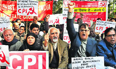 CPI protests, demands answers from govt on demonetisation