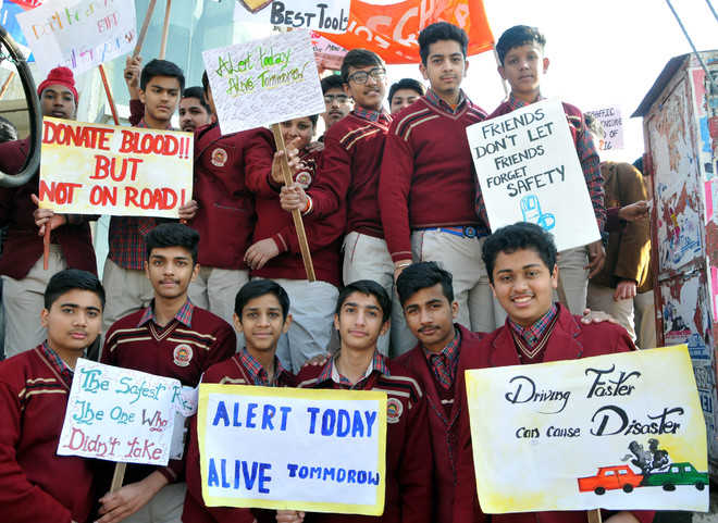 Students spread road safety awareness