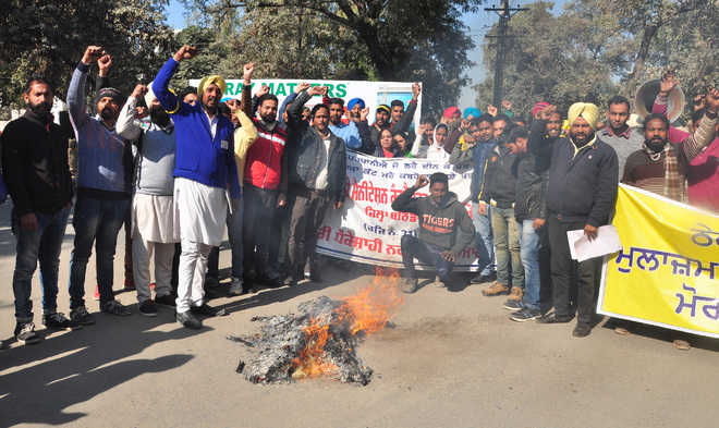 Sanitation workers protest termination of services