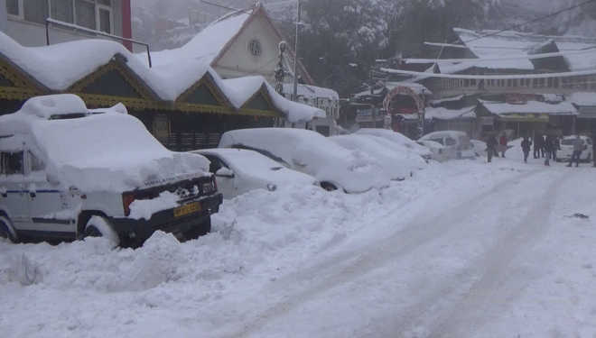 Bright sunny day in Chamba after snowfall