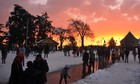 Tourists walk around as the sunsets after heavy snowfall in Shimla on January 10, 2017. Tribune photo: Amit Kanwar