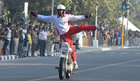 Members of Corps of Military Police 'Shwet Ashwa' from Bengaluru perform daredevil acts during the Military Literature Festival at Uttar Marg, in Chandigarh, on December 7. Tribune photo: Ravi Kumar