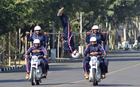 Members of a motorcycle team practices for the performance at the Military Literature Festival at Uttar Marg, in Chandigarh, on December 6. Tribune photo: Ravi Kumar