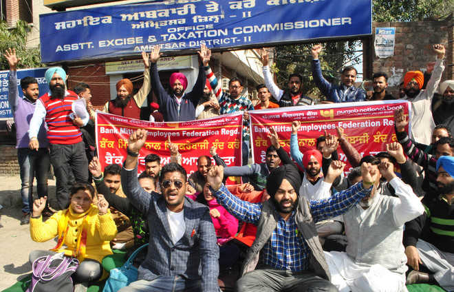 Bank Mitras of public sector bank hold protest