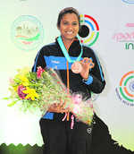 Pooja shoots bronze in WC opener