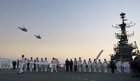 Indian Navy personnel take part a ceremony for the aircraft carrier INS Viraat on its final day as it is decommissioned in Mumbai on March 6, 2017. PTI photo
