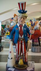 A 'ninot' representing US president Donald Trump is on display in Valencia on March 07, 2017, ahead of the Fallas festival.