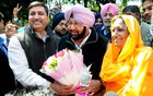 Congress leader Amrinder Singh and party leaders Harish Chaudhary and Asha Kumari after the party's victory of Punjab election at his residence on March 11, 2017. Tribune photo: Pradeep Tewari