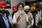 Chief Minister Parkash Singh Badal interacts with the press after his party lost the Punjab assembly elections at his residence in Badal village on March 11, 2017. Tribune photo: Pawan Sharma