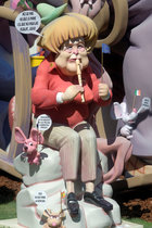 A figure of a Fallas monument pictures German Chancellor Angela Merkel during the Fallas festival in Valencia, Spain, on March 16, 2016. Reuters photo