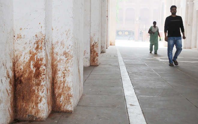 Shabby Look paan stains give museum a shabby look
