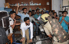 Police cane-charge the students at Chemical Department of Panjab University, Chandigarh, on April 11. Students said they were not involved in fee hike protest. Tribune photo: Manoj Mahajan