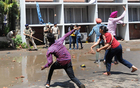 The protesting students pelting stones on police personnel at Panjab University, Chandigarh, on April 11. Tribune photo: Manoj Mahajan