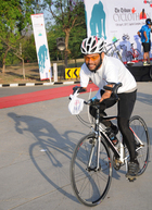 Cyclist Jagbinder Singh participates in The Tribune 'Cyclothon' held at The Captiol Complex, Sector 3, Chandigarh on Thursday. Tribune photo: Manoj Mahajan