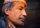 A devotee smeared in vermillion powder is pictured while celebrating the 'Sindoor Jatra' vermillion powder festival at Thimi, in Bhaktapur, Nepal April 15, 2017. Reuters