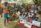 Children support Tamil farmers in their protest demanding loan waiver and compensation for crop failure, at Jantar Mantar in New Delhi on April 16, 2017. PTI photo