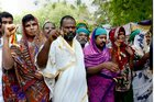 Tamil farmers dressed as women to demand compensation for drought in he state in New Delhi on April 15, 2017. PTI photo