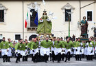 Members of the Confraternity of Our Lady of Loreto run across a square as they carry the statue of Madonna che Scappa (The Madonna Who Runs) during an Easter Sunday celebration in Sulmona, Italy, on April 16, 2017. Reuters photo