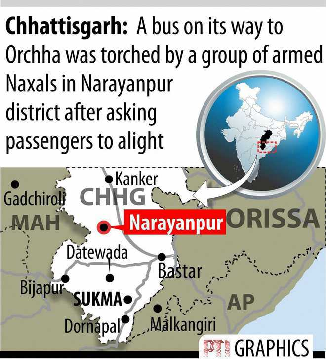 Naxals torch bus; 7 rebels held after face-off with cops