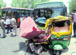 Two killed as DTC bus crashes into vehicles