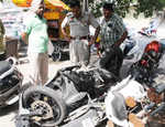 Bikers collide with car, 3 injured