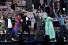 Riteish Deshmukh (center left), and Manish Paul (center right), appear on stage at the 2017 International Indian Film Academy Festivals IIFA Rocks at MetLife Stadium on Friday, July 14, 2017, in East Rutherford, New Jersey. AP/ PTI