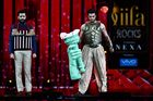 Bollywood actors Ritesh Deshmukh (L) and Manish Paul perform on stage as they host IIFA Rocks, part of the 18th International Indian Film Academy (IIFA) Festival, on early July 15, 2017, at the MetLife Stadium in East Rutherford, New Jersey. AFP photo