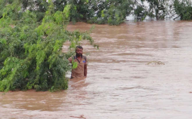 Labourer rescued from Ghaggar fury
