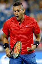 Nadal climbs to the top, falls hard against Kyrgios