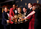 Host James Corden (L) holds an Emmy Award for Outstanding Variety Special for 'Carpool Karaoke' as he jokingly jumps into a photo to pose with Samantha Bee (3rd-L) and the other winners from 'Full Frontal With Samantha Bee Presents Not The White House Correspondents' for Outstanding Writing for a Variety Special backstage at the Creative Arts Emmy Awards in Los Angeles. September 9. Reuters
