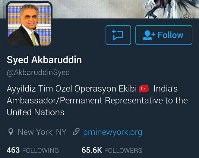 Twitter account of Indian ambassador to UN hacked