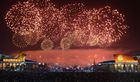 This picture from North Korea's official Korean Central News Agency (KCNA) taken and released on January 1, 2018 shows fireworks ushering in the New Year in Pyongyang. AFP photo