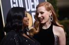 Actresses Jessica Chastain (R) and Octavia Spencer arrive for the 75th Golden Globe Awards on January 7, 2018, in Beverly Hills, California. AFP photo