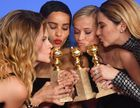 Actresses Laura Dern, Nicole Kidman, Zoe Kravitz, Reese Witherspoon and Shailene Woodley pose with the Best Television Limited Series or Motion Picture Made for Television throphy for Big Little Liesduring the 75th Golden Globe Awards on January 7, 2018, in Beverly Hills, California. AFP photo