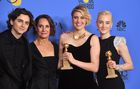 Timothee Chalamet, Laurie Metcalf, Greta Gerwig and Saoirse Ronan poses with the award for Best Motion Picture Musical or Comedy in Lady Bird during the 75th Golden Globe Awards on January 7, 2018, in Beverly Hills, California. AFP photo