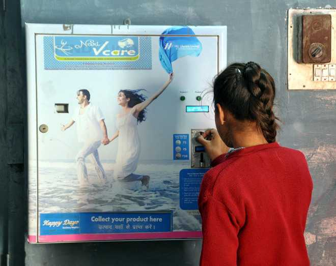 Vending machine sans sanitary napkin for a year