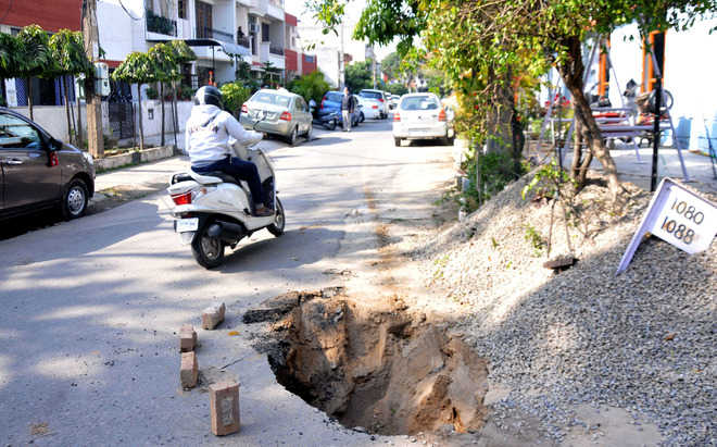 Portion of road caves in at Mohali