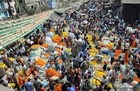 A view of a wholesale flower market on the ocassion of Hindu festival of Mahashivratri, in Kolkata, on February 13. PTI