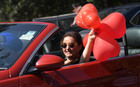 A woman celebrates Valentine's Day at Azadi Road in Sector 10 in Chandigarh on February 14. Tribune photo: Ravi Kumar