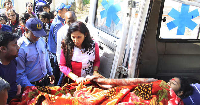 Khushi appears for first exam on stretcher