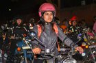 Female bikers leave for a road trip along with women cops after the launch of All Women Patrolling Squad by the South Delhi district police, at Sarojini Nagar in New Delhi on the eve of Women's Day. PTI