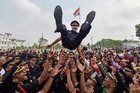 Cadets lift a colleague at their graduation ceremony at the Officers Training Academy (OTA) in Chennai on March 10, 2018. PTI photo