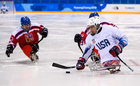 Brody Roybal of USA controls the puck during the ice hockey preliminary round game between the United States of America and Czech Republic at the Gangneung Hockey Centre. Reuters