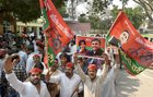 Samajwadi Party supporters celebrate the party's success in Lok Sabha by-elections at the party headquarters in Lucknow on March a4, 2018. PTI photo