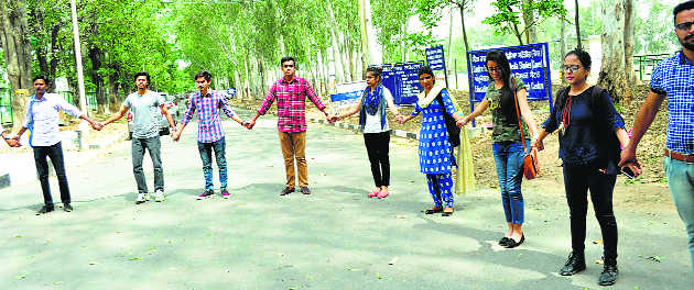 Students protest against rape in Kathua, Unnao