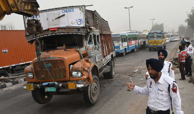 Collision between trucks leads to traffic jam