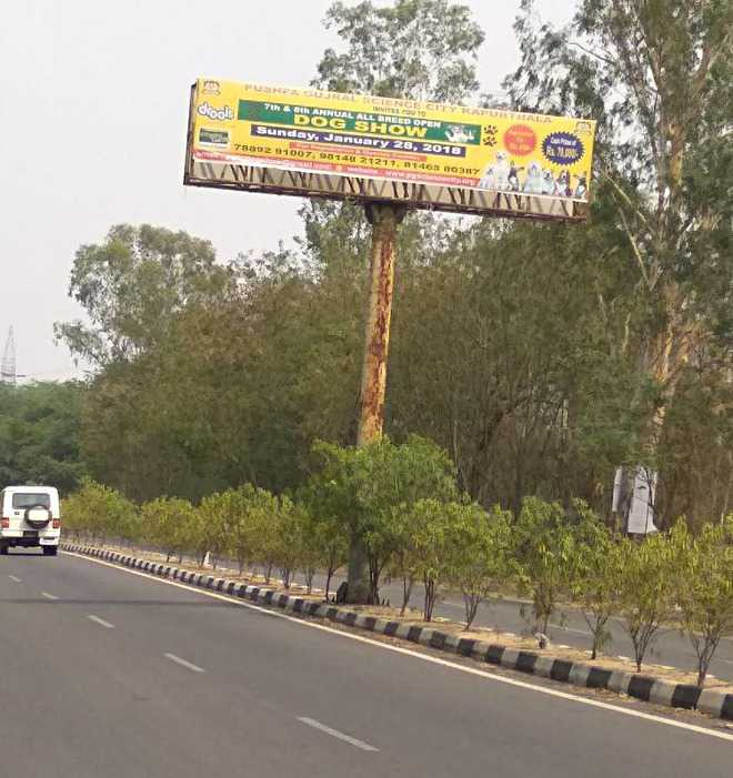 Illegal hoarding at Kapurthala road draws flak from commuters