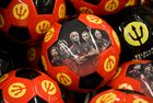 This picture taken on June 12, 2018 shows accessories portraying the Belgium national football team the Red Devils on sale at a supermarket chain in Brussels days before the start of the 2018 World Cup football tournament in Russia. AFP photo